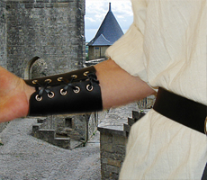 Basic Bracers shown in black leather with laces & nickel eyelets.