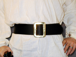 Basic Pirate Belt shown in black leather with solid brass buckle & brass rivets.
