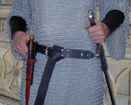 Bailey Basics Knight Set. Sword Belt, Dagger Frog & Bracers shown in black leather with nickel hardware.