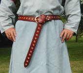 Medieval Eyelet Belt~Based on Period Illustrations. Available in black, dark brown, chestnut(shown),& dark tan leather with brass or nickel eyelets & buckle.