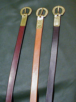 Medieval and Viking Age Belts shown in Chestnut, Dark Tan & Dark Brown bridle leather.