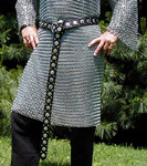 Our Medieval Warlord Belt is heavily studded with rivets and riveted steel discs.