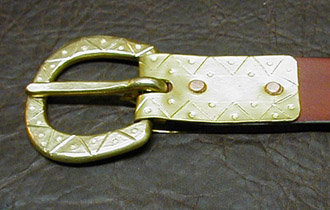 Anglo-Saxon Medieval & Viking Age Belt with hand-worked zigzag and dot pattern buckle plate and buckle.