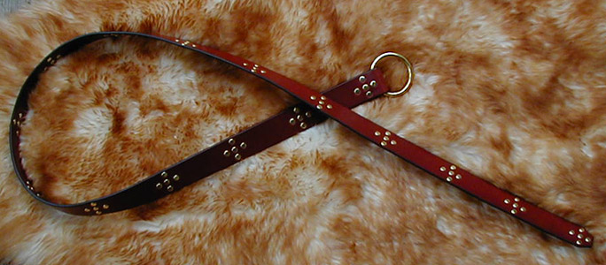 Studded Star Belt shown in Chestnut Leather and Brass.