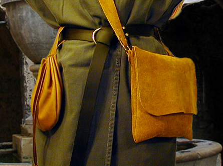 Suede Haversack Shoulder Bag shown in amber.