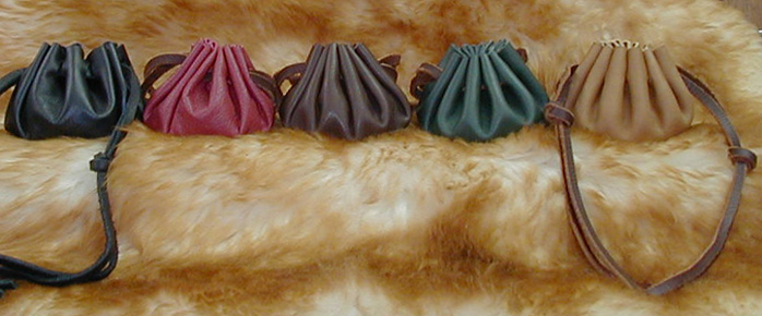 Medieval Coin Pouches shown in Black, Brick, Brown, Green & Tan.