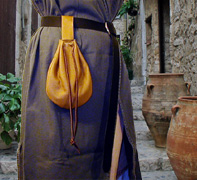 Medieval Drawstring Belt Pouch shown in Tan.