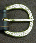 Our Medieval Sword Belt Buckle is solid brass, hand-worked in a classic Medieval Zig Zag & Dot Pattern.