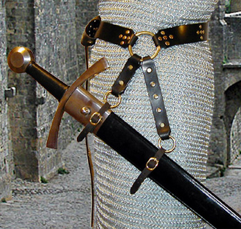 Our Studded Star Swordbelt is based on our Sword Belt of the Circle. Shown in black leather with brass hardware.